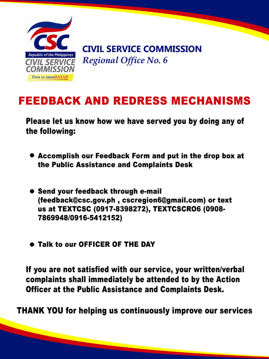 Feedback  Redress Mechanisms  Civil Service Commission Regional