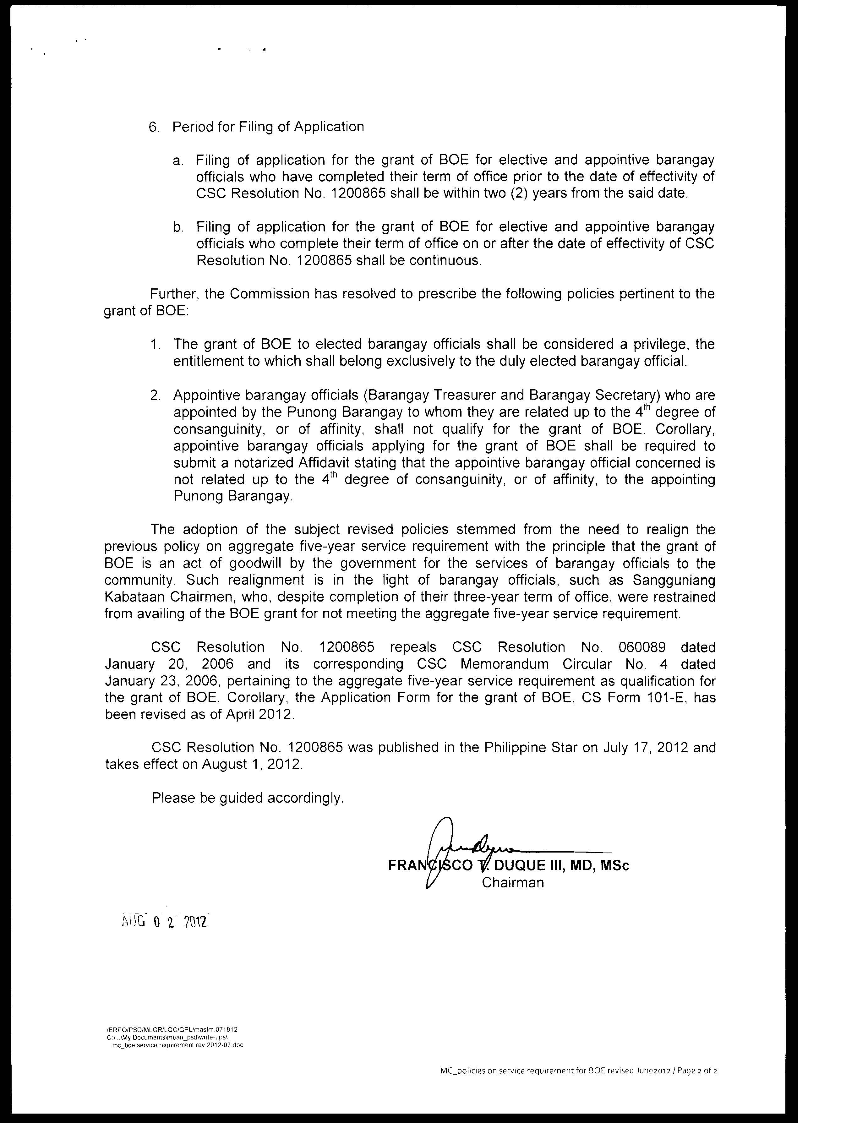 CSC MC 13 s. 2012 (Policies on Service Requirement for Grant of ...